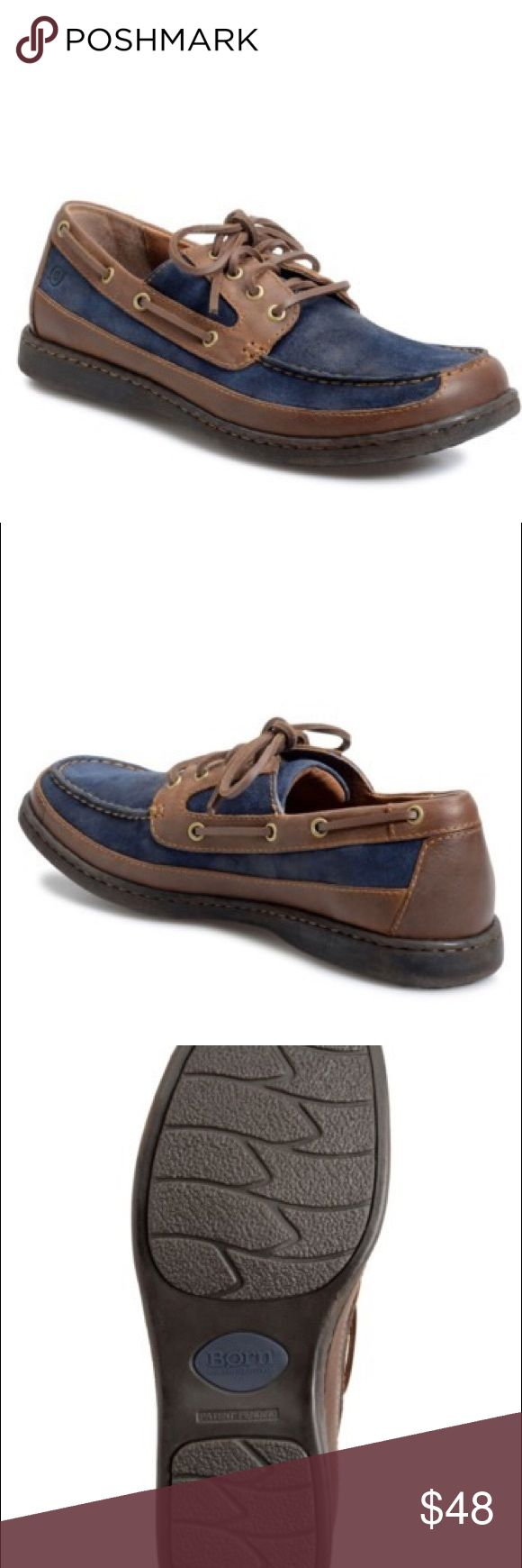 Born size 13 Men's shoes Details Hand-sewn construction elevates a versatile boat shoe paneled in rich suede and leather with a moisture-wicking liner for all-day comfort.  True to size.  - Lace-up style - Leather and suede upper/leather lining/rubber sole - Imported Born Shoes
