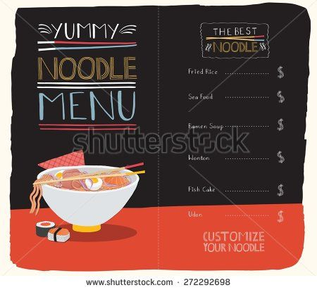 Noodle menu with hand lettering, template. - stock vector