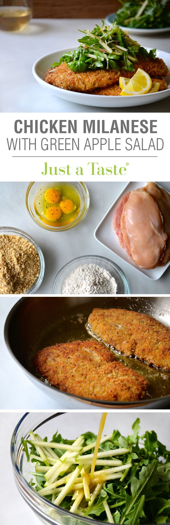 Chicken Milanese with Green Apple Salad #recipe from @justataste