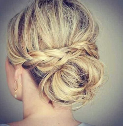 Planning to incorporate a braid perhaps like this or at the side. Veil to go either above or below bun so decor where there braid lies would be nice.