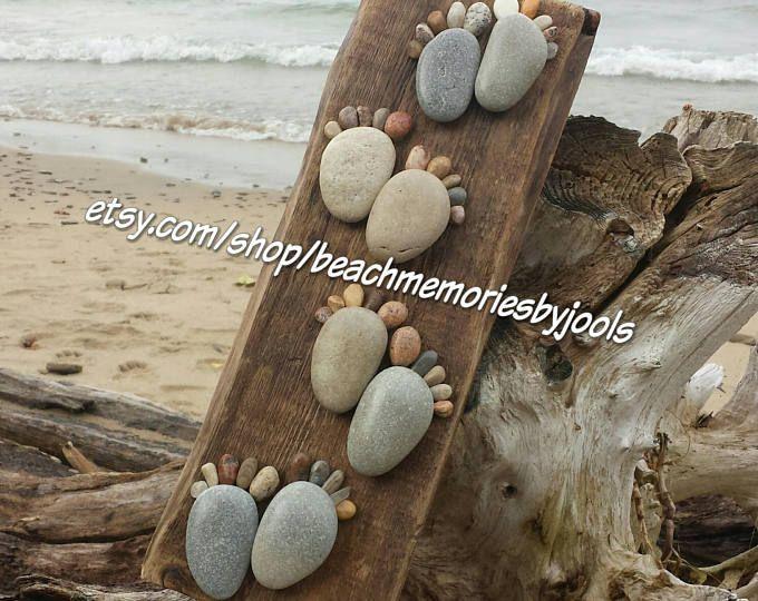 Barefoot on the beach, footprint board, footprint art, footstep board, footstep art, stone feet, rock feet, rock art, stone art,beach decor
