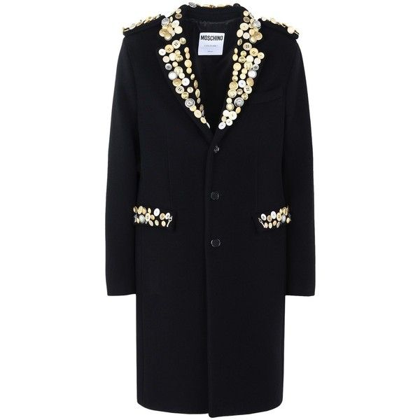Moschino Coat (142.505 RUB) ❤ liked on Polyvore featuring men's fashion, men's clothing, men's outerwear, men's coats, black, mens fur collar coat and mens wool coats