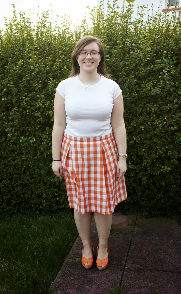 Gingham box pleated skirt - Handmade by Rebekah