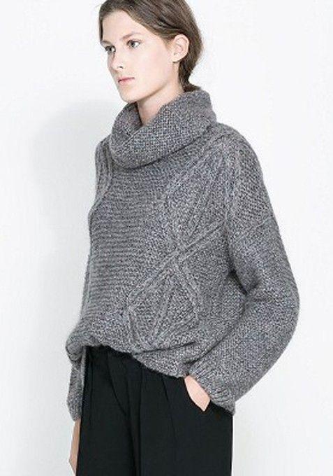 Grey Plain Lotus Collar Loose Wool Blend Sweater