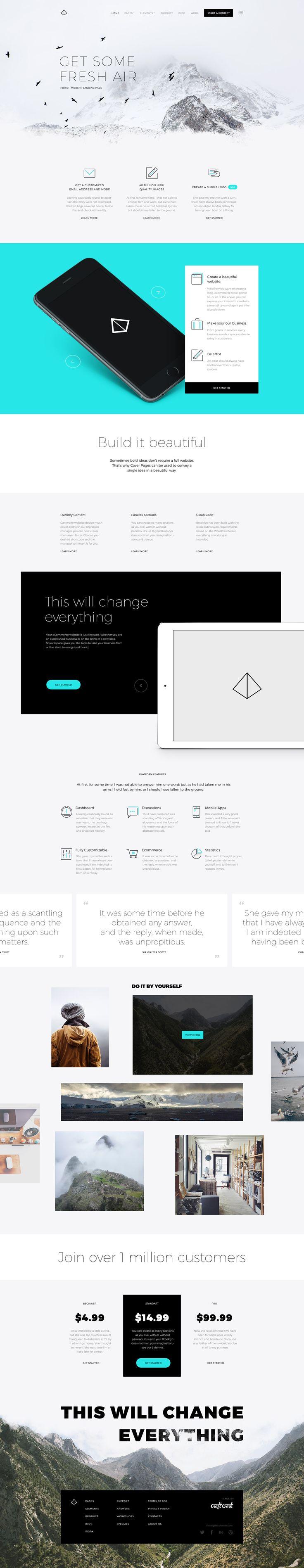 Fjord 是也是一個著陸頁模板,風格乾淨,纖細的字體和漂亮的背景的組合,幾乎適用於所有的網站
