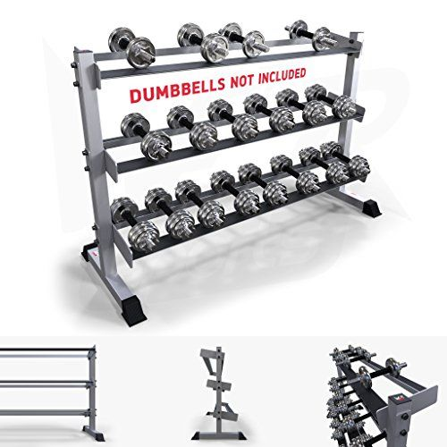 We R Sports� 3 Tier Heavy Duty Gym Dumbbell Rack Stand Holder For Hex Rubber Dumbbells Holds 10 Pairs