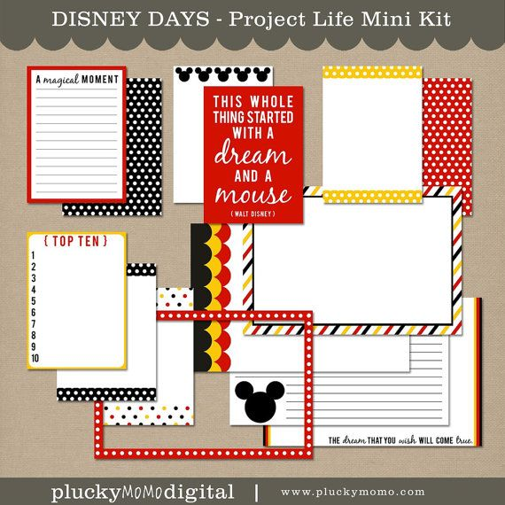 DISNEY DAYS Journaling Cards for Scrapbooking or Project Life      From pluckymomo