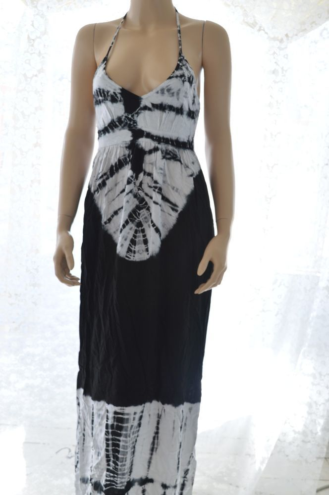 NWT Ro & De Maxi Dress Nordstrom Stretched Halter Tie Dye Blue White Size Small #RoDe #Maxi #SummerBeach