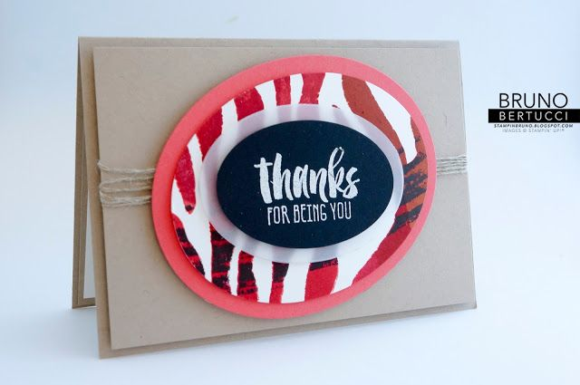 handmade thank you card from stampinbruno ... kraft .... multi-layered ovals form focal point ... luv the vellum layer over the bright stripes ...
