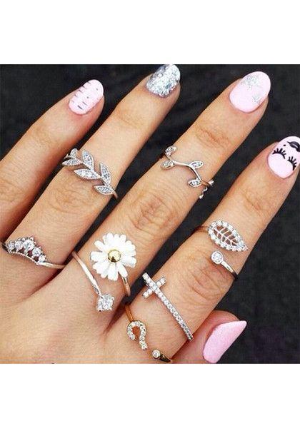 Leaves Knuckle Ring Set