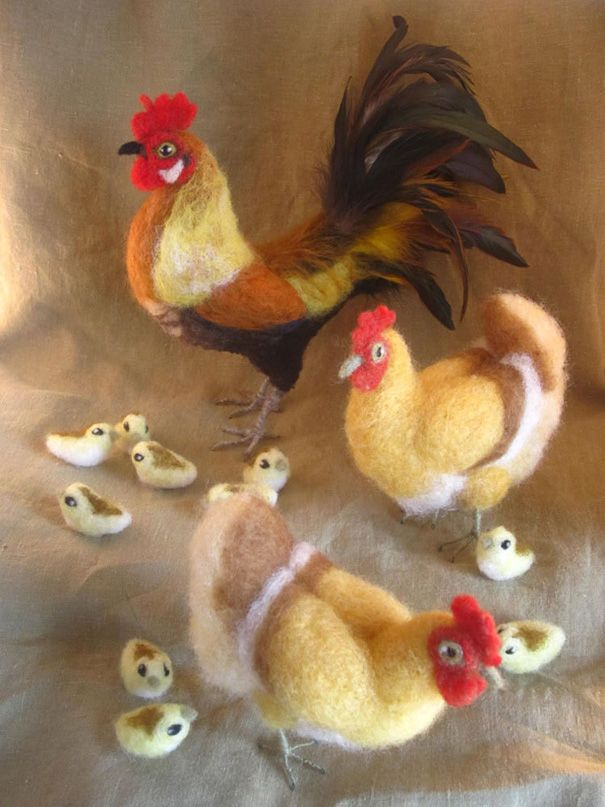 needle-felted-rooster, hen, chicks by anigmati