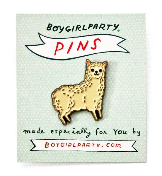 Alpaca enamel pin -- featuring a unique drawing of an alpaca / llama by illustrator Susie Ghahremani / boygirlparty® #pingame