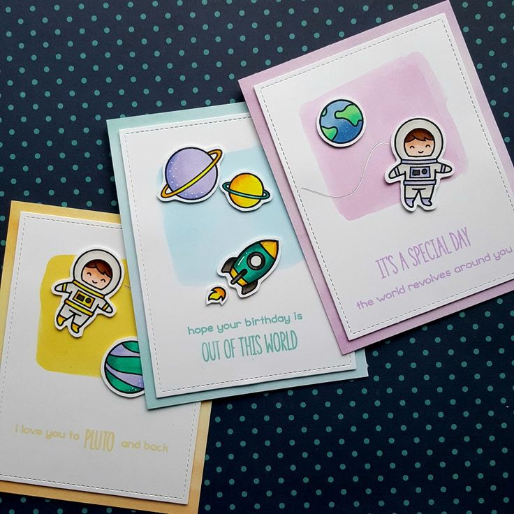 I made a set of three cards, with one stamp set. I did that with the Out of This World stamp set from Lawn Fawn.      I started by die cutti...