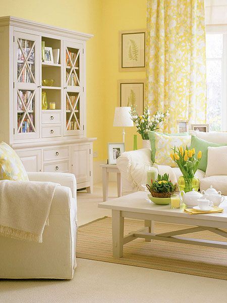 Cheerful and energizing, yellow brings warmth to a room. It enhances and maximizes natural light and can brighten a space with few windows. (Photo: IPC Images) Repinned from http://www.myhomeideas.com/room-galleries/sunshine-yellow-living-room-00400000056065/index.html#