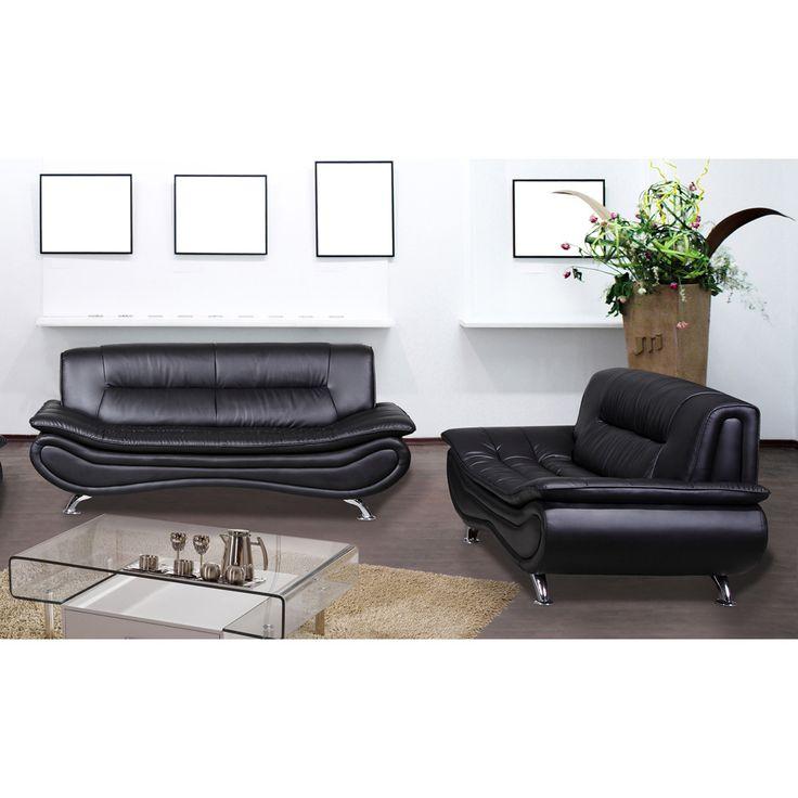 christina black leather sofa and loveseat set overstock. Black Bedroom Furniture Sets. Home Design Ideas