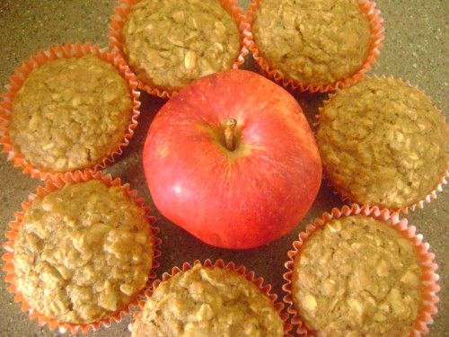 oatmeal apple muffins: Use the full 3 tb of honey and full 2 cups of apples