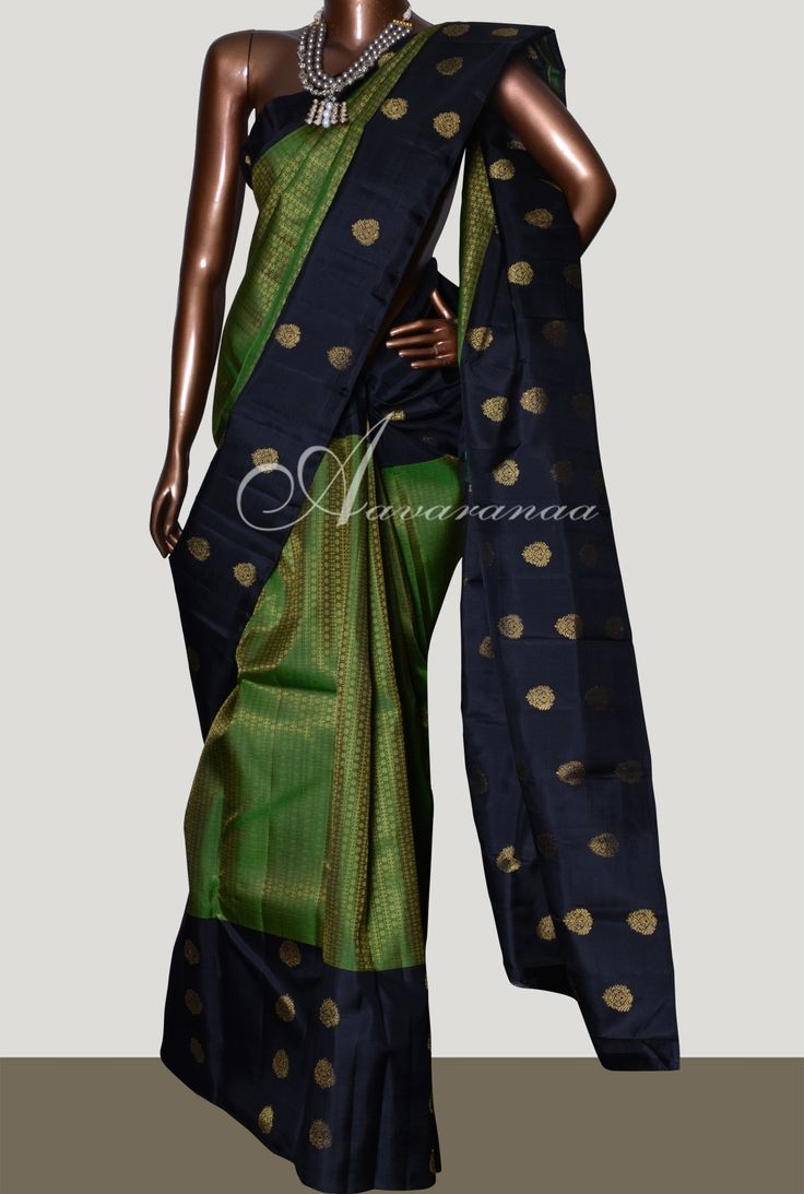 Black and green long border kanchipuram silk saree