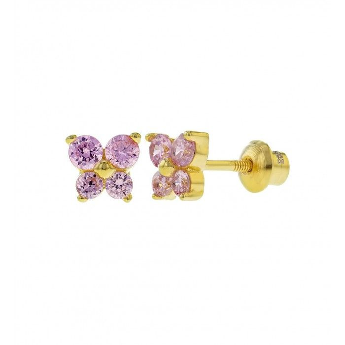 Children's Earrings:  18k Gold over Sterling Silver, Pink CZ Butterflies with Screw Backs.  From a huge range of baby and children's screw back earrings at Baby Jewels.