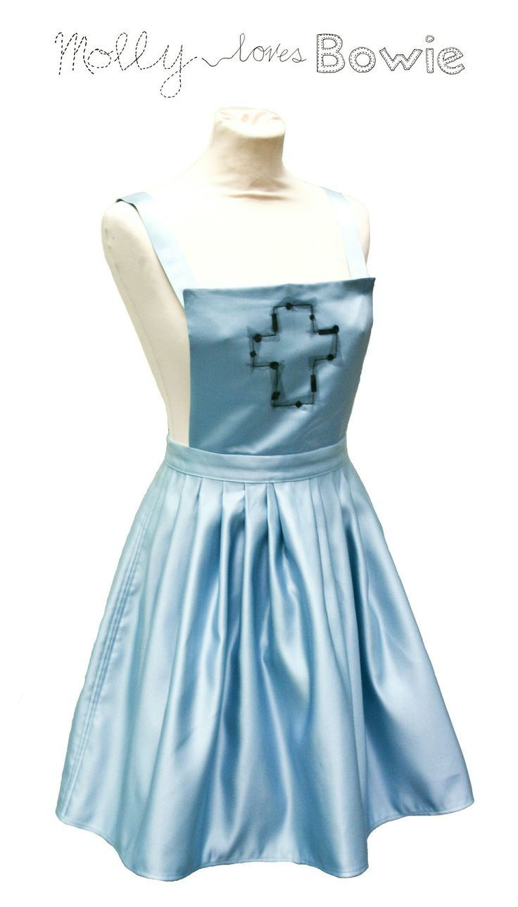 Blue Satin Dungaree Dress via Molly loves Bowie. Click on the image to see more!