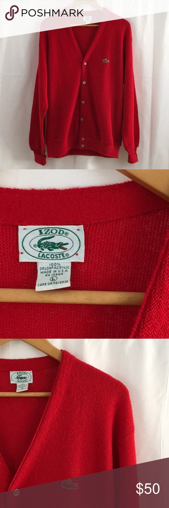 Vintage Izod Lacoste Cardigan Vintage Izod Lacoste Cardigan size large. Not faded, in really good condition Lacoste Sweaters Cardigan