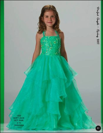 Fancy A-line halter top neck floor-length turquoise blue little girl birthday party dress QDLGBPo52 $180