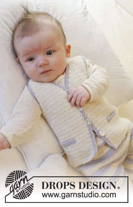 "Crochet DROPS vest with v-neck, buttons at the front and pocket edges in ""Alpaca"". Size 0-4. ~ DROPS Design-free pattern"
