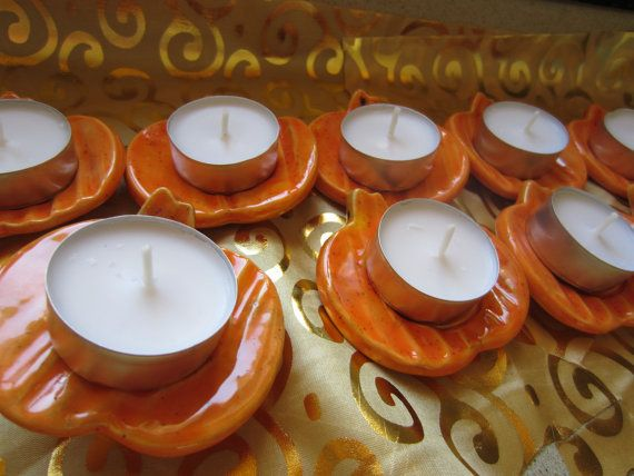 Chanukah/Thanksgiving 9 Pumpkin Tea Lights by JerusalemTile, $44.00