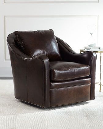 Fawn+Leather+Swivel+Chair+at+Horchow.