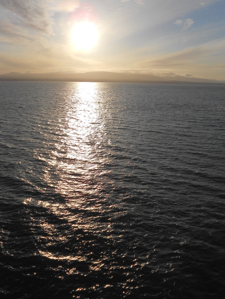 Crossing the Irish Sea from Dublin, Republic of Ireland to Holyhead, Wales, UK. I was outside the ferry because, even though it was a chilly December 1, inside the nice boat made me seasick. (been there! loved it! my photo)