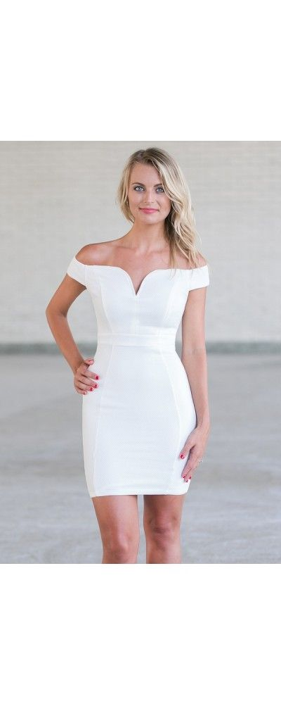 Lily Boutique Dream of Texture Off Shoulder Dress in Ivory, $34 Off White Off…
