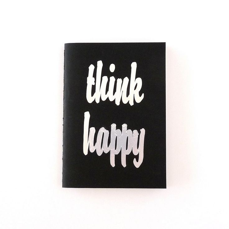 Notebook - Sketchbook - Think Happy - Black cover, title in silver, colored pages #journal #handmadejournal #silverfoil