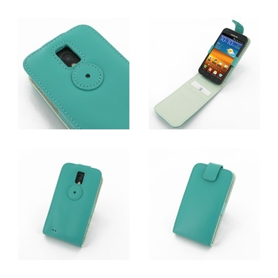 PDair Leather Case for Samsung Galaxy S II Epic 4G Touch SPH-D710 - Flip Top Type (Aqua)