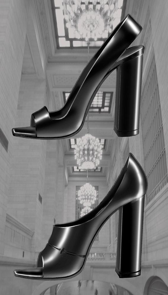 Airmesh and calfskin slingback & opentoe tick heel Liminale Nowhere design