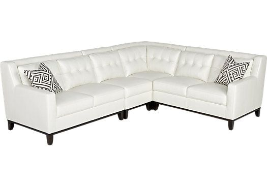 Reina White Leather 4 Pc Sectional . $1,499.00. 173.5W x 83.5D x 32H. Find affordable Leather Living Rooms for your home that will complement the rest of your furniture.