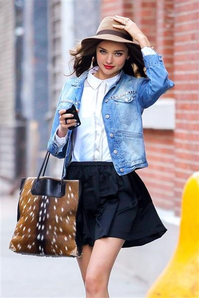 Miranda Kerr holds onto her hat on a windy day in New York as she goes out and about with her dog Frankie on Nov. 24, 2012.