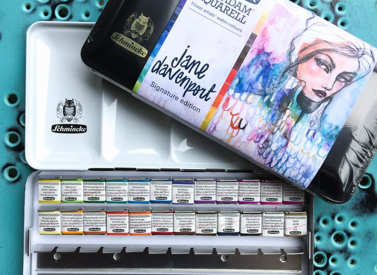 Jane Davenport Signature Edition of the Schmincke Horadam Aquarell Artist Watercolors features <strong>24 half pans of the highest quality pan watercolors in the world.</strong> The carefully balanced color selection from Jane Davenport is presented in a tin that fits 48 half pans so you can grow your collection.