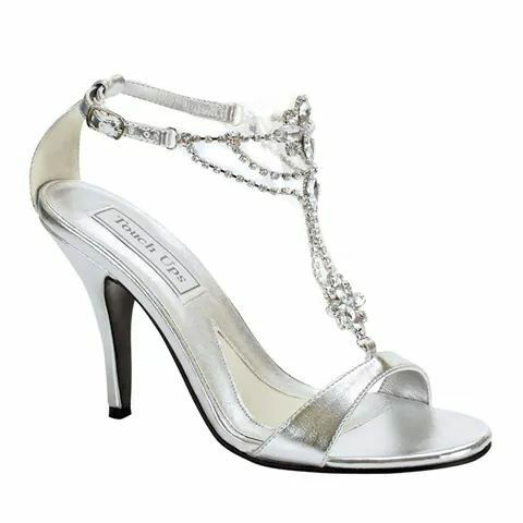 ... Dresses and Bridal Dresses Touch Ups Shoes - Style Princess 189  [Princess] - Touch Ups Shoes, Spring 3 Heel sandals with rhinestone straps.  Not dyeable.