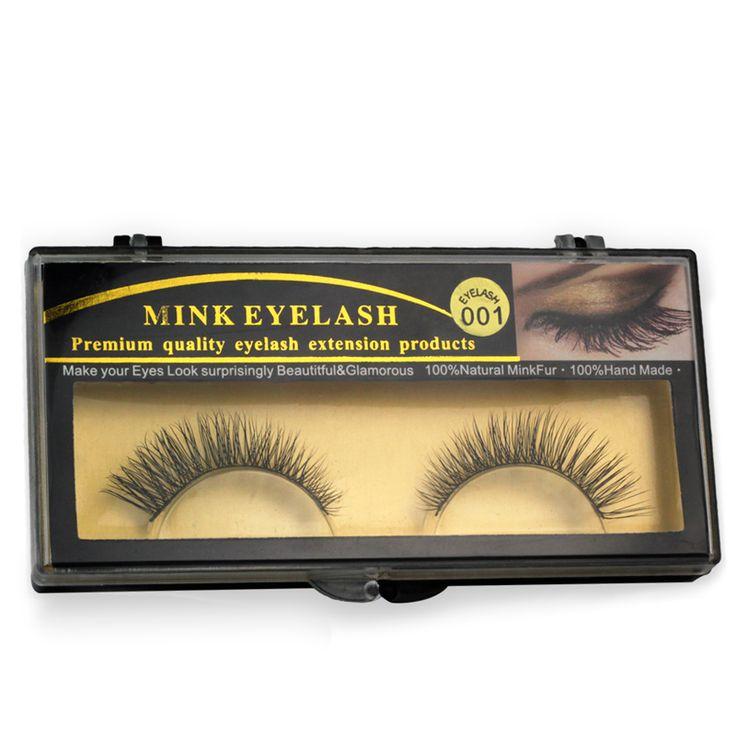 1 pares Natural grosso Mink cílios postiços para a beleza maquiagem extensão Natural cílios para Maquiagem-EYM001 alishoppbrasil