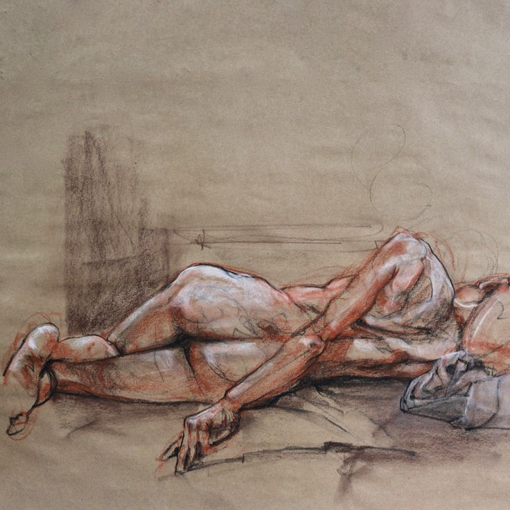 Nude. Conte on craft paper 2014.  #lifedrawing #art #sketch #from life# #veritybluestudio #kathrynkaiser