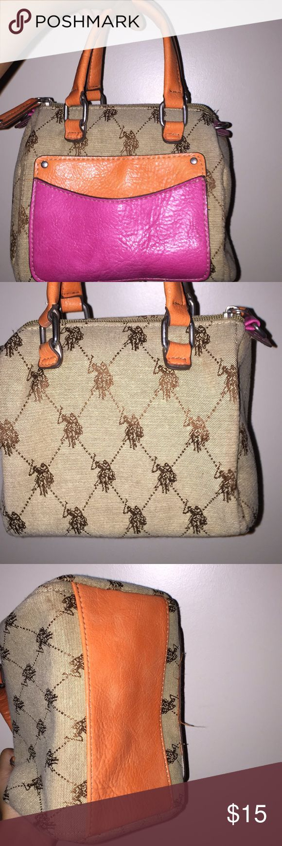 u.s polo mini handbag small , well condition , used twice and very clean no scratches colors are orange pink brown and tan U.S. Polo Assn. Bags Mini Bags