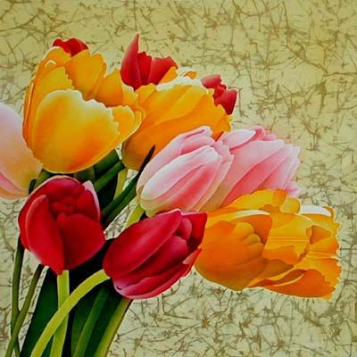 Silk Painting Bouquet of Tulips