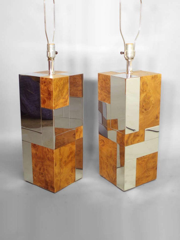 Pair of Cityscape Burl and Stainless Table Lamps by Paul Evans | From a unique collection of antique and modern table lamps at https://www.1stdibs.com/furniture/lighting/table-lamps/