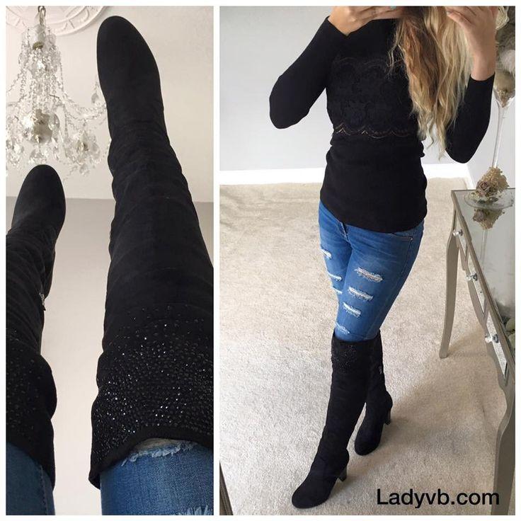 Charlotte Black Knee High Heel Boot Glimmer on Rim