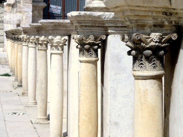 Smaller columns decorating the inner part of the ampitheater in Amman.