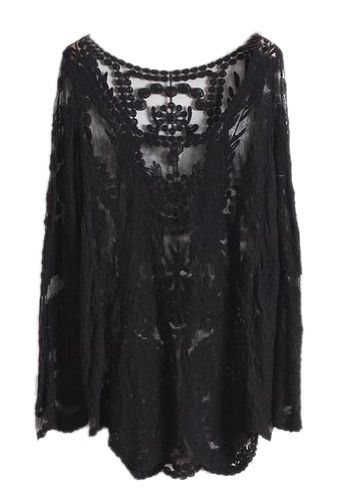 NEW Semi Sexy Sheer Sleeve Embroidery Floral Lace Crochet Tee Top shirt Vintage (Black)