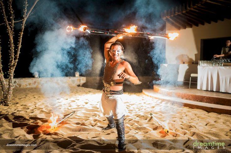 A fire dancer at a Huatulco wedding in Mexico