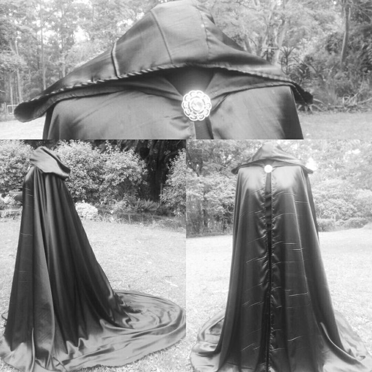 Hooded cape with train in satin. #corsetsbytanielle