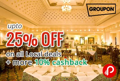 Groupon (now NearBuy) offers UPTO 25% off on all Local deals + more 10% cashback through PayuMoney. UPTO 30% off Coupon Code – HAPPINESS. 10% Cashback (Max Rs.50 CB) by Payumoney – Select Payment > PayuMoney. http://www.paisebachaoindia.com/get-extra-30-off-on-all-local-deals-groupon-nearby/