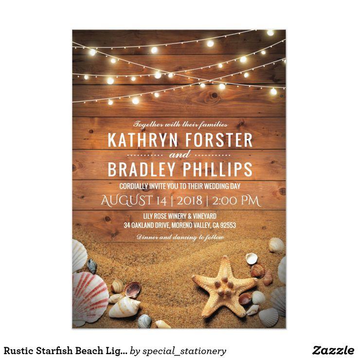 beach wedding invitation samples%0A Rustic Starfish Beach Lights Tropical Wedding Card