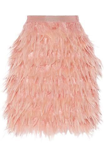 Feather and silk mini skirt #miniskirt #women #covetme #dkny
